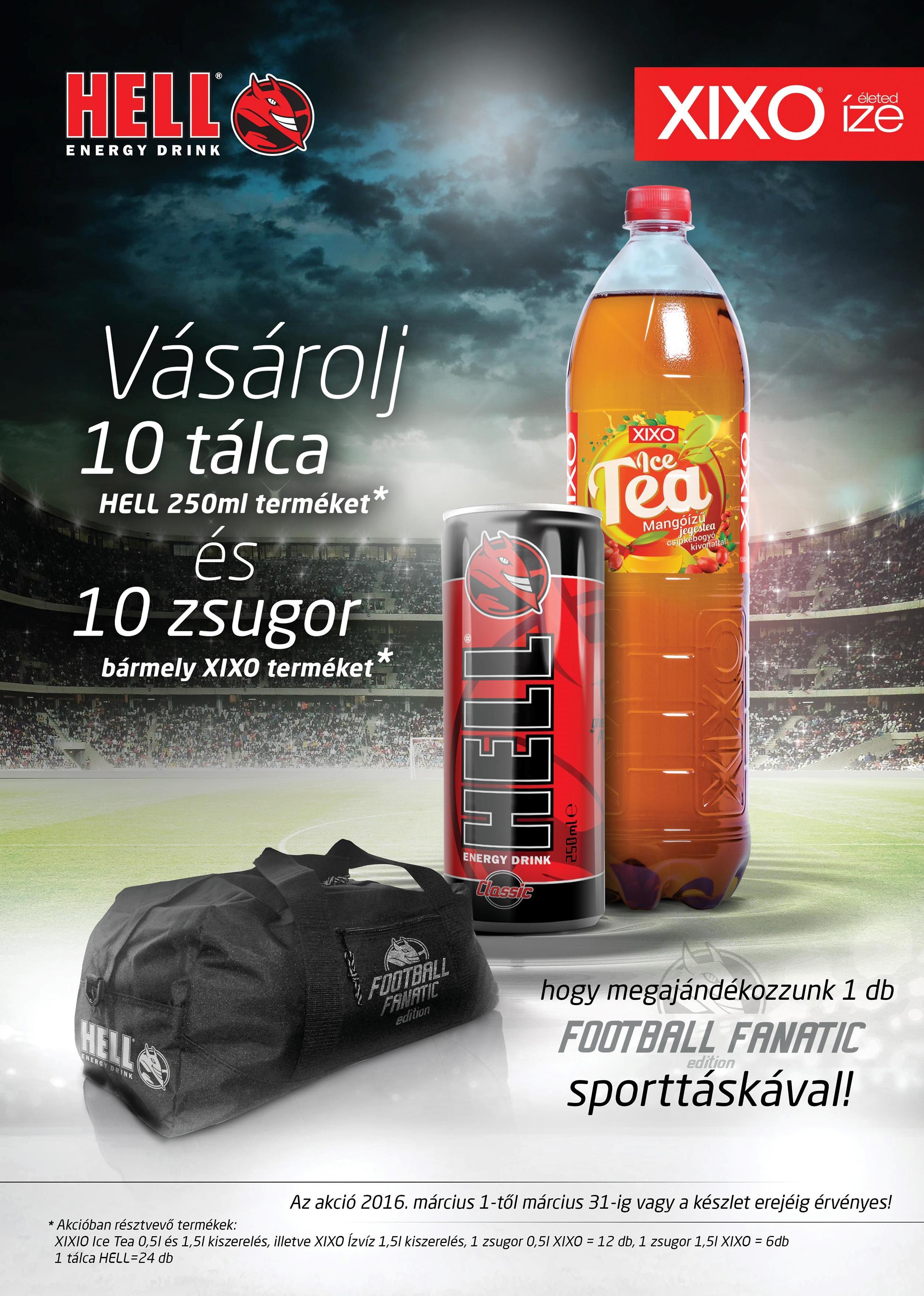 10 tálca Hell és 10 zsugor Xixo mellé ajándék Football Fanatic sporttáskát adunk
