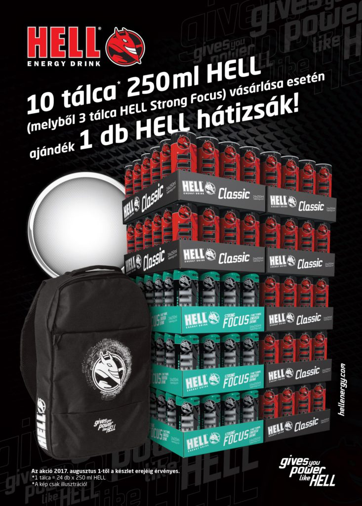 10 tálca 250ml HELL vásárlásakor ajándék HELL hátizsák